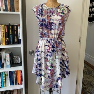 Cap Sleeve Printed Woven Fit and Flare Dress